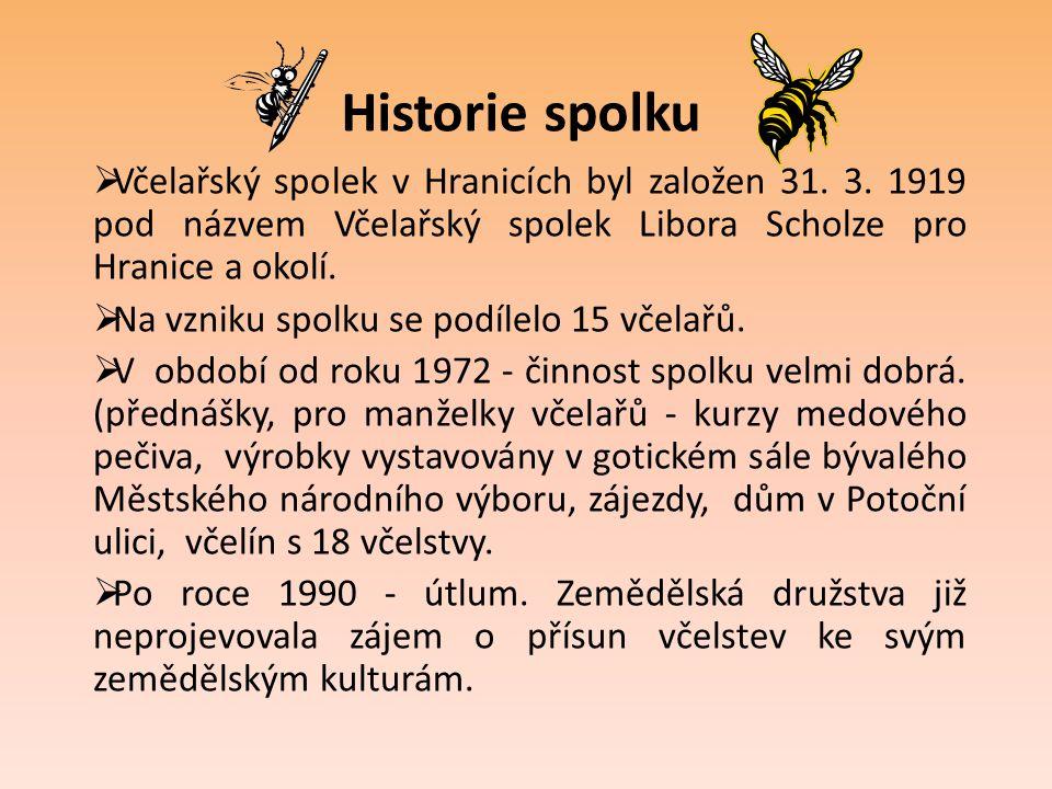 Historie spolku  Včelařský spolek v Hranicích byl založen 31. 3. 1919 pod názvem Včelařský spolek Libora Scholze pro Hranice a okolí.  Na vzniku spo