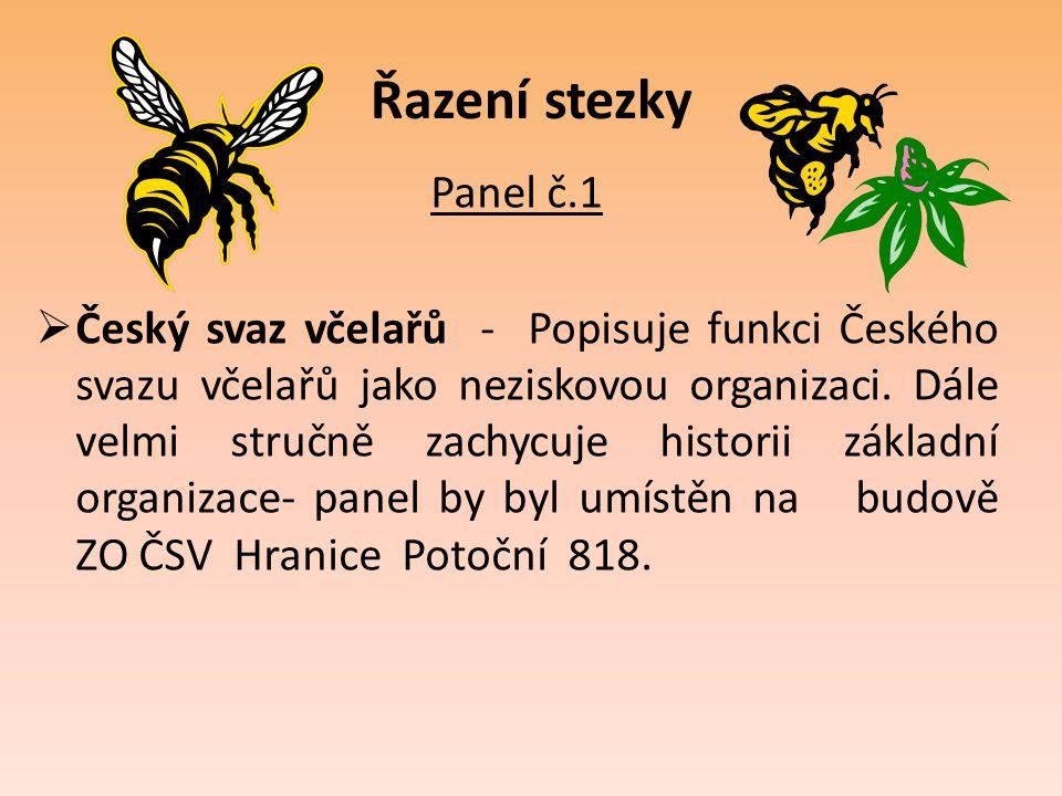 Řazení stezky Panel č.1  Český svaz včelařů - Popisuje funkci Českého svazu včelařů jako neziskovou organizaci. Dále velmi stručně zachycuje historii