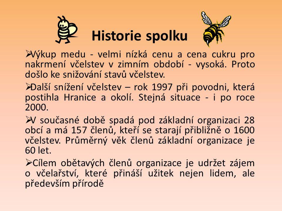 Historie spolku  Výkup medu - velmi nízká cenu a cena cukru pro nakrmení včelstev v zimním období - vysoká. Proto došlo ke snižování stavů včelstev.