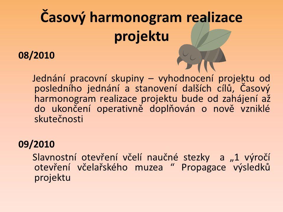 Časový harmonogram realizace projektu 08/2010 Jednání pracovní skupiny – vyhodnocení projektu od posledního jednání a stanovení dalších cílů, Časový h