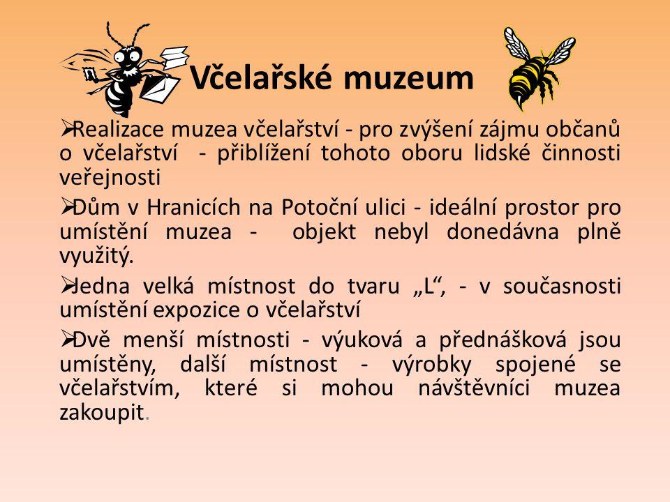 Včelařské muzeum  Expozice - předměty spojené s obhospodařováním včelstev, nástroje pro vymetání medu a na výrobu jiných včelařských produktů.