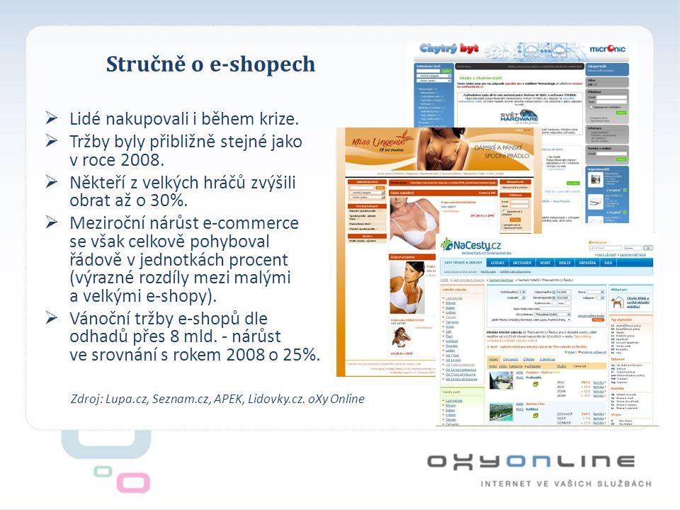Stručně o e-shopech Zdroj: Lupa.cz, Seznam.cz, APEK, Lidovky.cz.