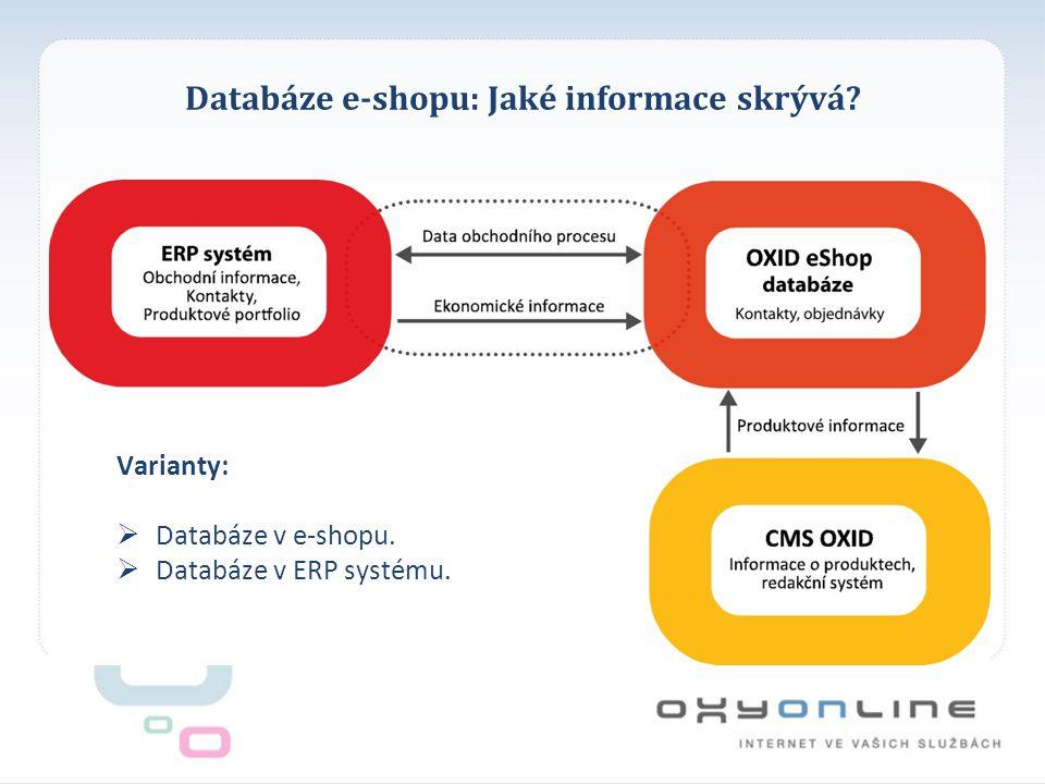 Databáze e-shopu: Jaké informace skrývá? Varianty:  Databáze v e-shopu.  Databáze v ERP systému.