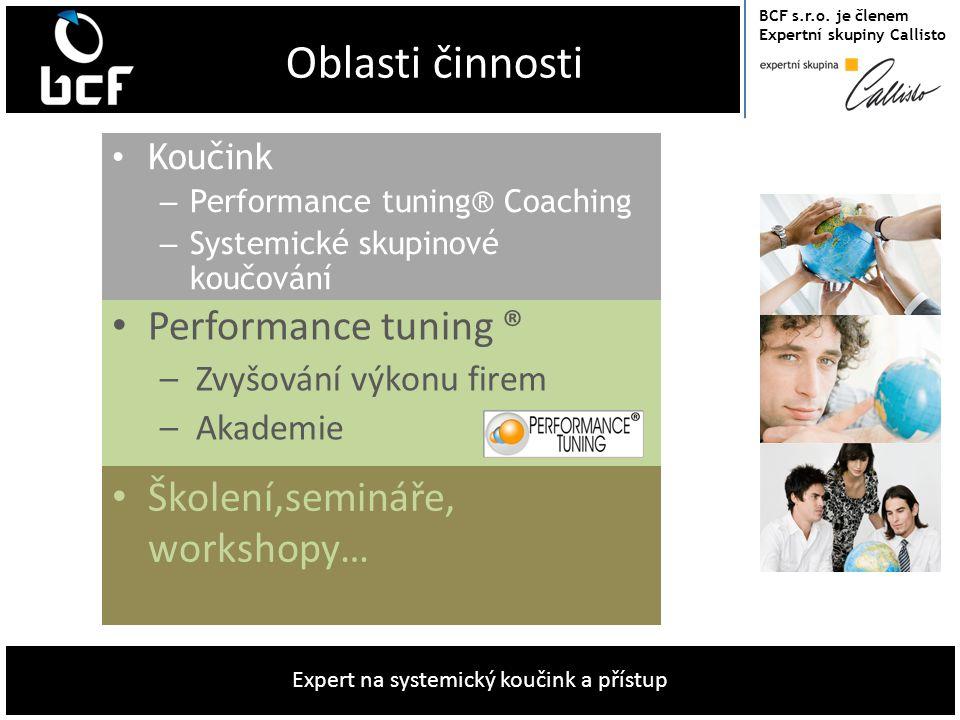 BCF s.r.o. je členem Expertní skupiny Callisto Expert na systemický koučink a přístup Oblasti činnosti • Koučink – Performance tuning® Coaching – Syst