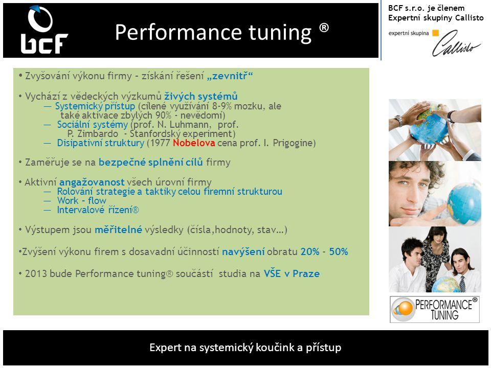 """BCF s.r.o. je členem Expertní skupiny Callisto Expert na systemický koučink a přístup Performance tuning ® • Zvyšování výkonu firmy – získání řešení """""""