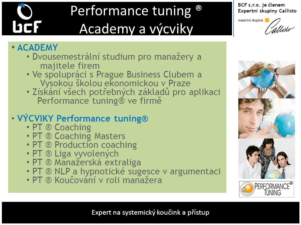 BCF s.r.o. je členem Expertní skupiny Callisto Expert na systemický koučink a přístup Performance tuning ® Academy a výcviky • ACADEMY • Dvousemestrál