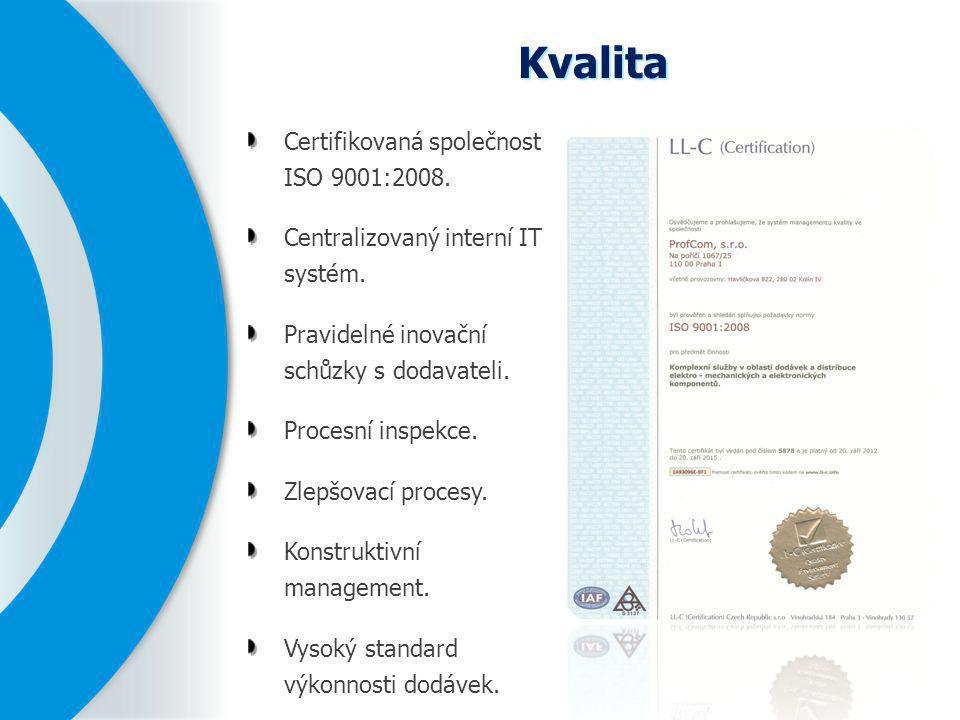Kvalita Certifikovaná společnost ISO 9001:2008. Centralizovaný interní IT systém. Pravidelné inovační schůzky s dodavateli. Procesní inspekce. Zlepšov