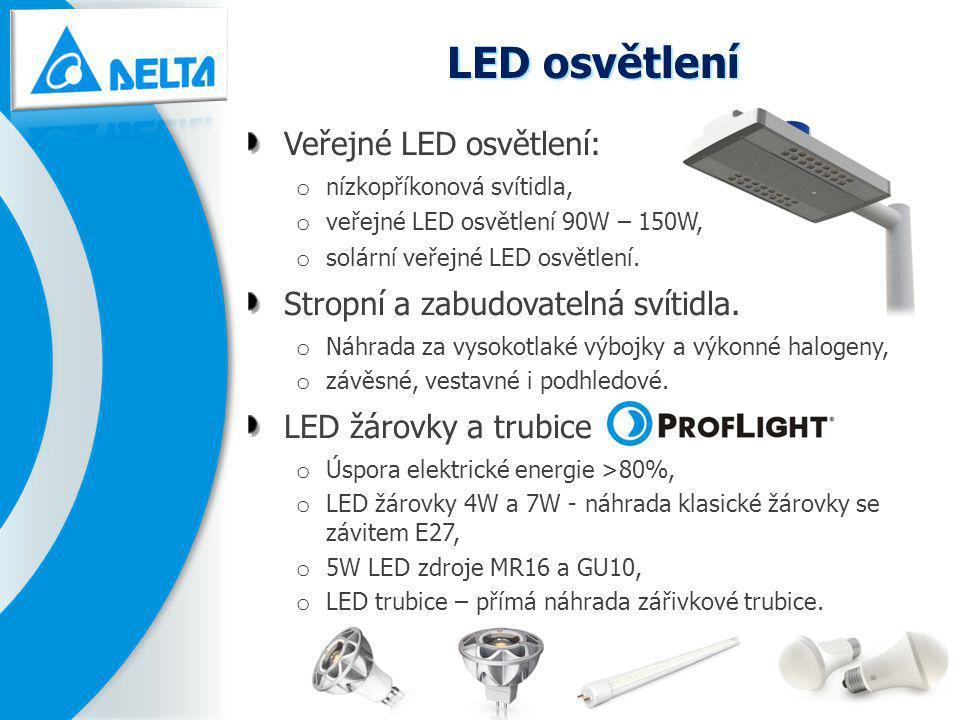 LED osvětlení Veřejné LED osvětlení: o nízkopříkonová svítidla, o veřejné LED osvětlení 90W – 150W, o solární veřejné LED osvětlení. Stropní a zabudov