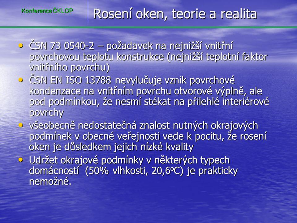Rosení oken, teorie a realita • ČSN 73 0540-2 – požadavek na nejnižší vnitřní povrchovou teplotu konstrukce (nejnižší teplotní faktor vnitřního povrch