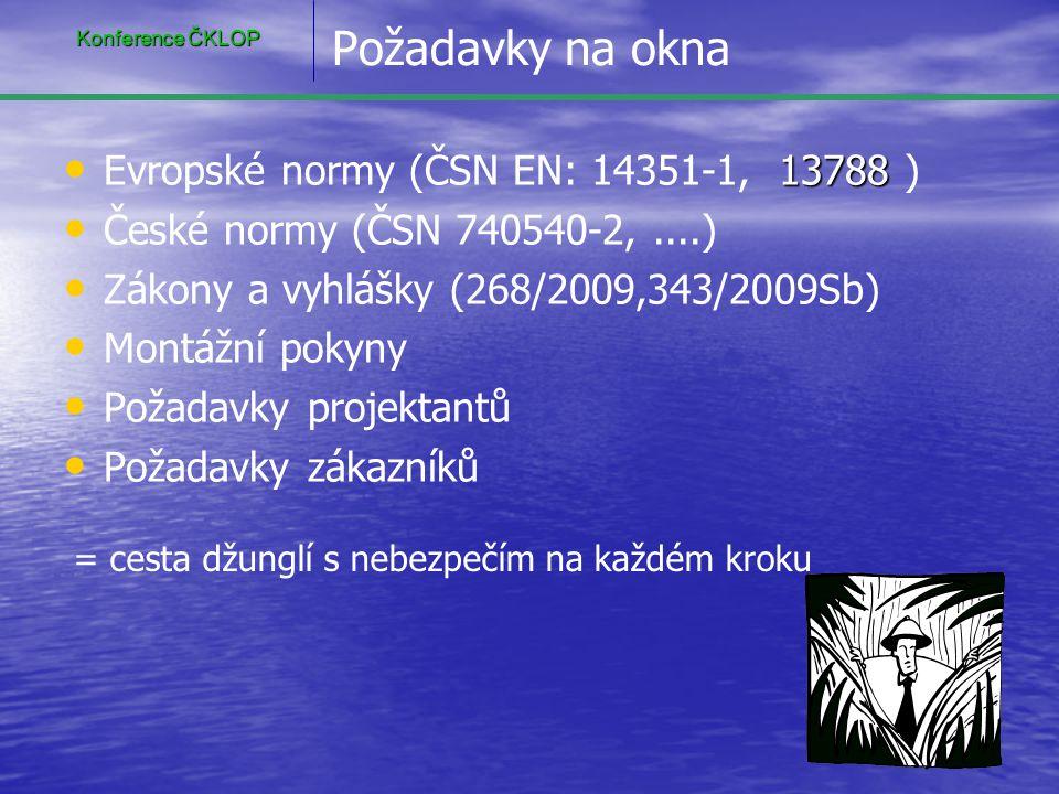 Požadavky na okna • 13788 • Evropské normy (ČSN EN: 14351-1, 13788 ) • • České normy (ČSN 740540-2,....) • • Zákony a vyhlášky (268/2009,343/2009Sb) •