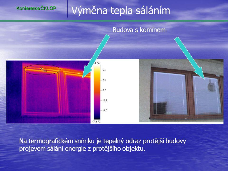 Budova s komínem Na termografickém snímku je tepelný odraz protější budovy projevem sálání energie z protějšího objektu. Výměna tepla sáláním Konferen