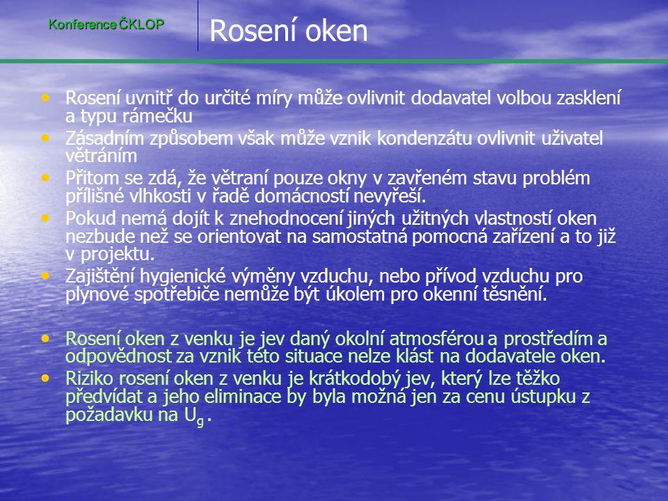 Rosení oken • • Rosení uvnitř do určité míry může ovlivnit dodavatel volbou zasklení a typu rámečku • • Zásadním způsobem však může vznik kondenzátu o