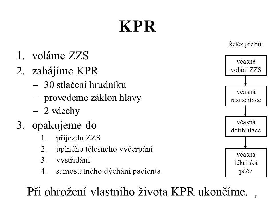 1.voláme ZZS 2.zahájíme KPR – 30 stlačení hrudníku – provedeme záklon hlavy – 2 vdechy 3.opakujeme do 1.příjezdu ZZS 2.úplného tělesného vyčerpání 3.v