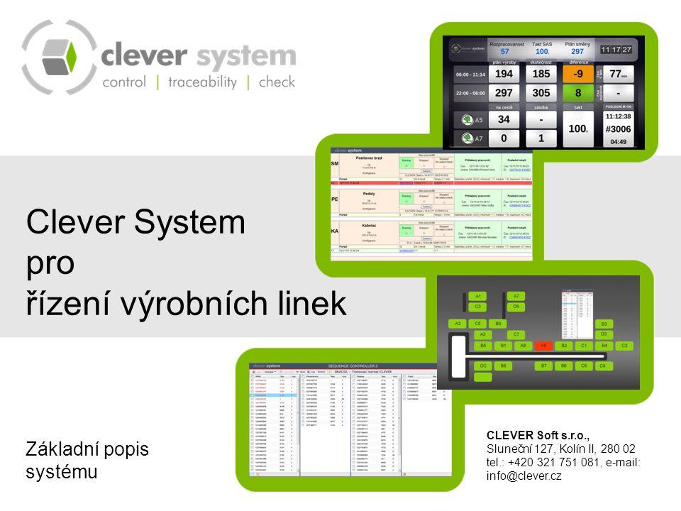Základní popis Clever Systemu Možnosti Clever Systemu Hlavní funkce Clever Systemu Clever System Client – pracovní stanice Repasní pracovní stanice Řídící Kernel Clever Systemu SQL server a databáze Archivace dat Webové rozhraní Clever Systemu Konfigurace systému CLEVER Soft s.r.o., Sluneční 127, Kolín II, 280 02 tel.: +420 321 751 081, e-mail: info@clever.cz