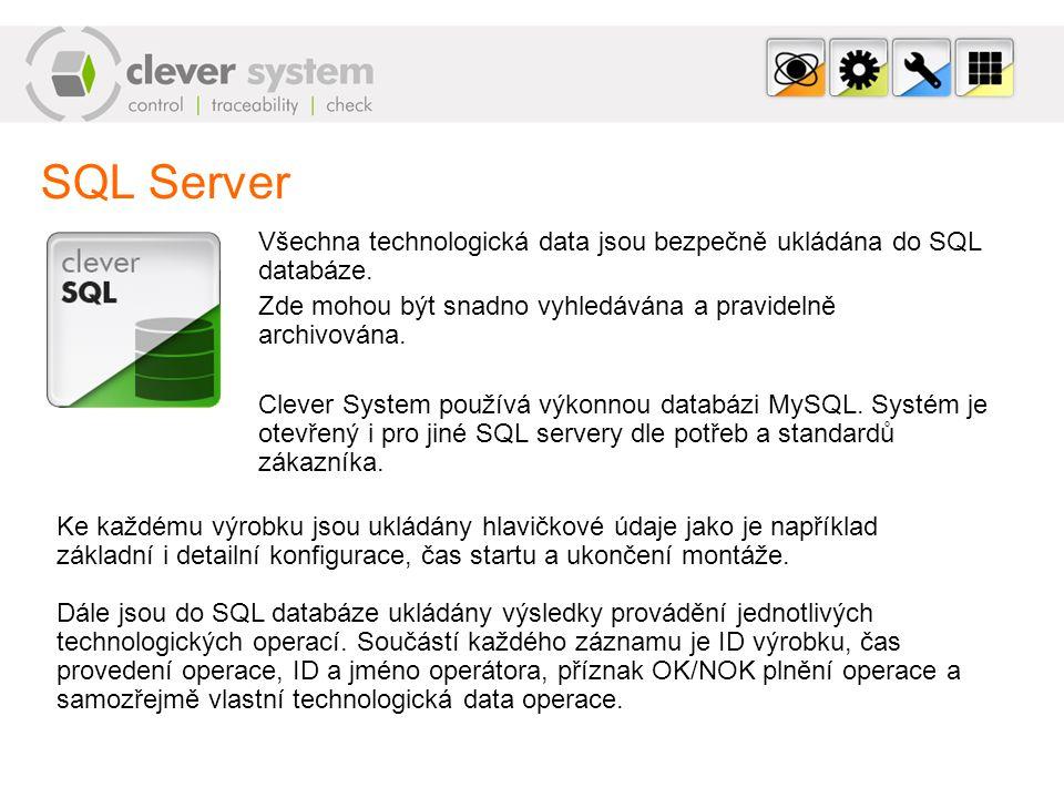 SQL Server Všechna technologická data jsou bezpečně ukládána do SQL databáze. Zde mohou být snadno vyhledávána a pravidelně archivována. Clever System