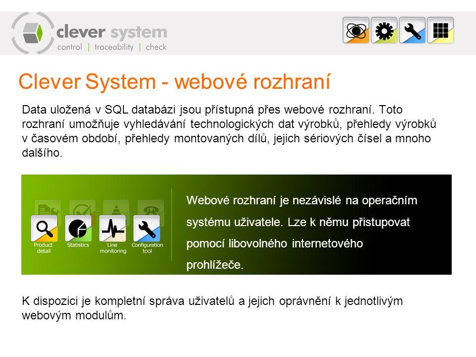 Clever System - webové rozhraní Data uložená v SQL databázi jsou přístupná přes webové rozhraní. Toto rozhraní umožňuje vyhledávání technologických da