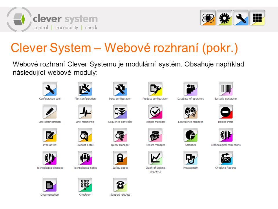 Clever System – Webové rozhraní (pokr.) Webové rozhraní Clever Systemu je modulární systém. Obsahuje například následující webové moduly: