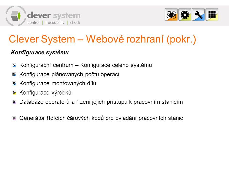 Clever System – Webové rozhraní (pokr.) Konfigurace systému Konfigurační centrum – Konfigurace celého systému Konfigurace plánovaných počtů operací Ko