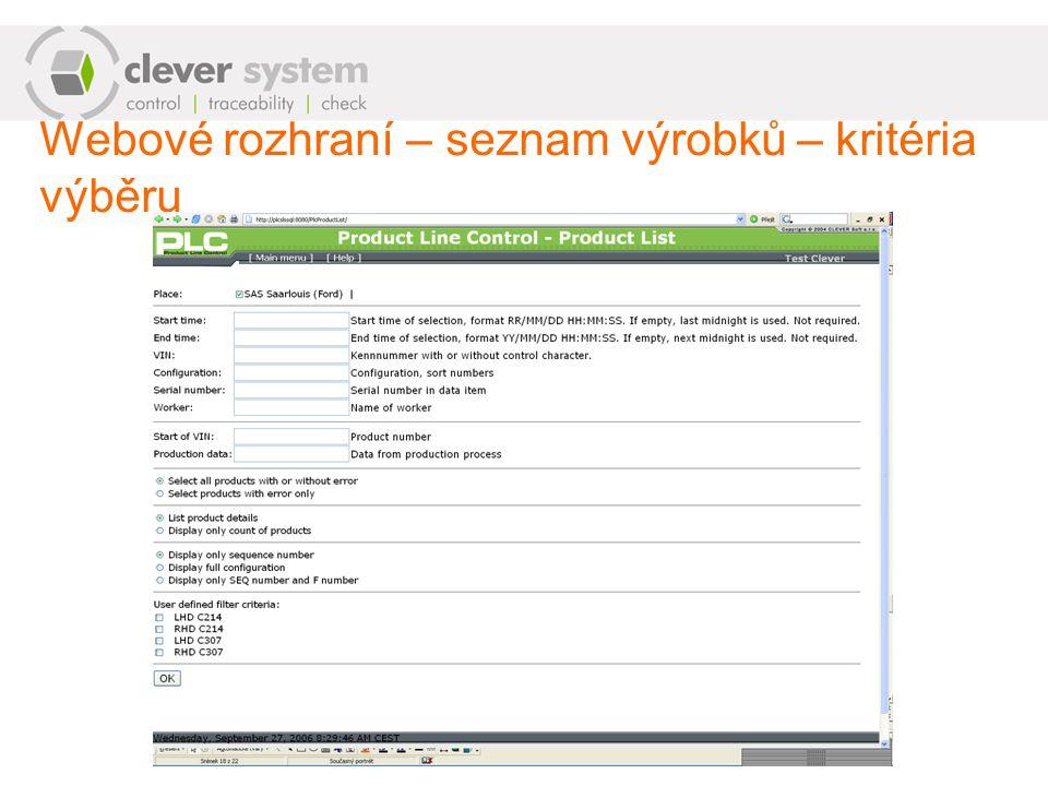 Webové rozhraní – seznam výrobků – kritéria výběru