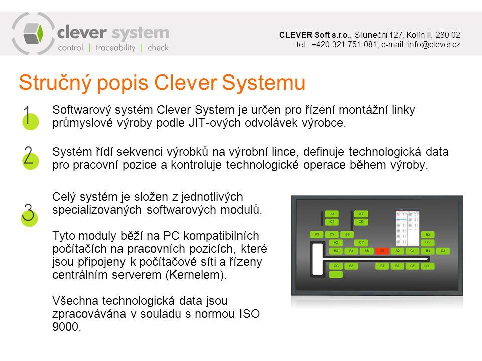 Softwarový systém Clever System je určen pro řízení montážní linky průmyslové výroby podle JIT-ových odvolávek výrobce.