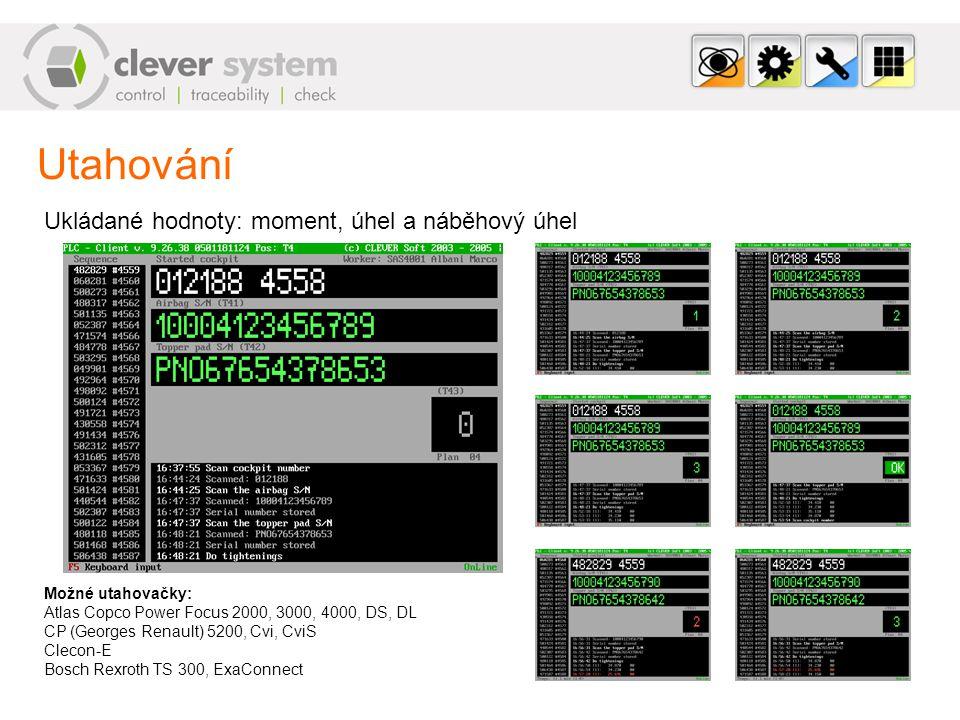 Clever System – Webové rozhraní (pokr.) Konfigurace systému Konfigurační centrum – Konfigurace celého systému Konfigurace plánovaných počtů operací Konfigurace montovaných dílů Konfigurace výrobků Databáze operátorů a řízení jejich přístupu k pracovním stanicím Generátor řídících čárových kódů pro ovládání pracovních stanic