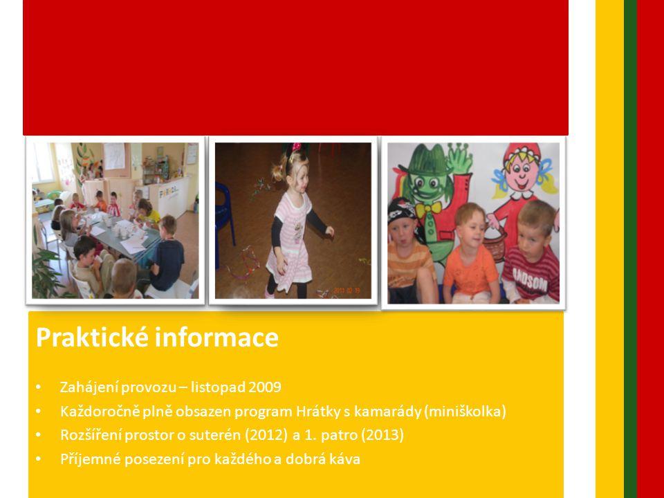 Praktické informace • Zahájení provozu – listopad 2009 • Každoročně plně obsazen program Hrátky s kamarády (miniškolka) • Rozšíření prostor o suterén (2012) a 1.