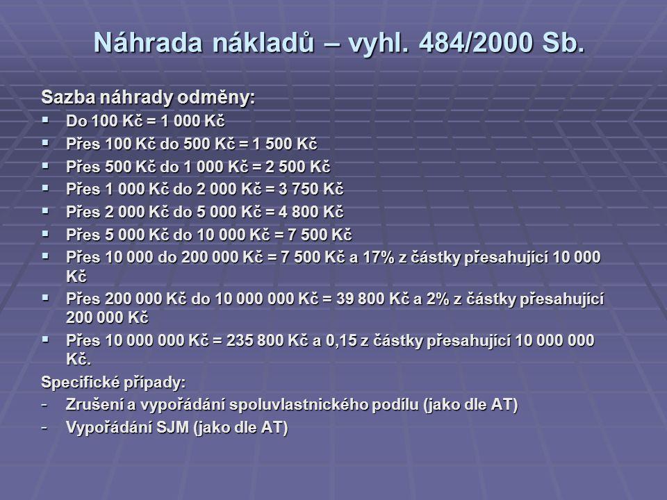 Náhrada nákladů – vyhl. 484/2000 Sb. Sazba náhrady odměny:  Do 100 Kč = 1 000 Kč  Přes 100 Kč do 500 Kč = 1 500 Kč  Přes 500 Kč do 1 000 Kč = 2 500