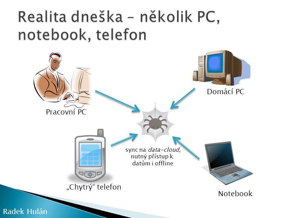 """Pracovní PC Domácí PC Notebook """"Chytrý telefon sync na data-cloud, nutný přístup k datům i offline Radek Hulán"""