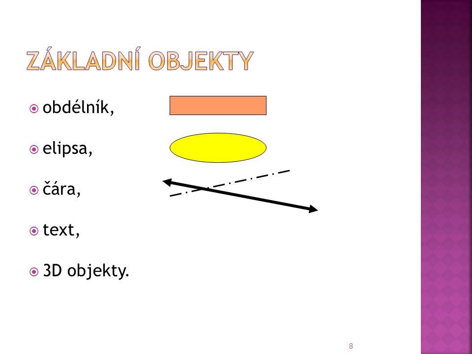  obdélník,  elipsa,  čára,  text,  3D objekty. 8
