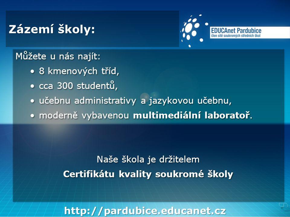 Zázemí školy: Můžete u nás najít: •8 kmenových tříd, •cca 300 studentů, •učebnu administrativy a jazykovou učebnu, •moderně vybavenou multimediální laboratoř.