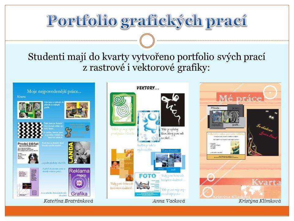 Kristýna Klímková Studenti mají do kvarty vytvořeno portfolio svých prací z rastrové i vektorové grafiky: Kateřina BratránkováAnna Vacková
