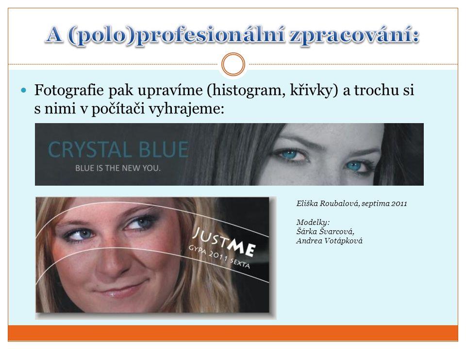  Fotografie pak upravíme (histogram, křivky) a trochu si s nimi v počítači vyhrajeme: Eliška Roubalová, septima 2011 Modelky: Šárka Švarcová, Andrea Votápková