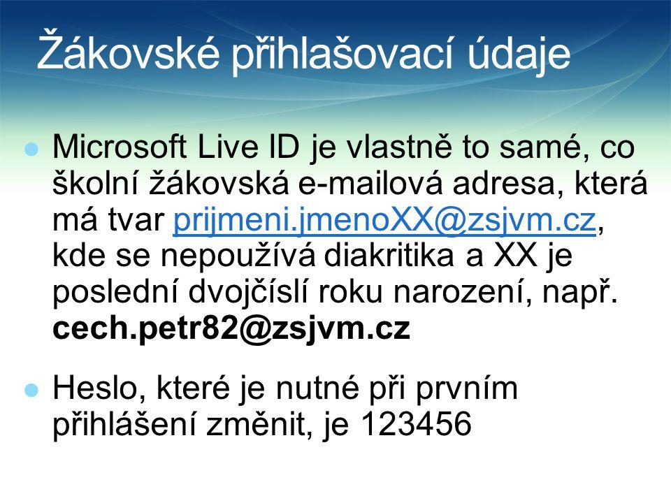 Žákovské přihlašovací údaje  Microsoft Live ID je vlastně to samé, co školní žákovská e-mailová adresa, která má tvar prijmeni.jmenoXX@zsjvm.cz, kde se nepoužívá diakritika a XX je poslední dvojčíslí roku narození, např.