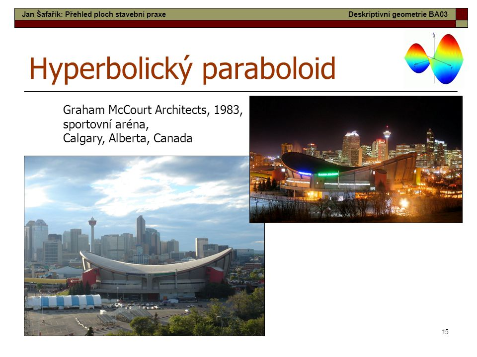 15 Hyperbolický paraboloid Graham McCourt Architects, 1983, sportovní aréna, Calgary, Alberta, Canada Jan Šafařík: Přehled ploch stavební praxeDeskriptivní geometrie BA03