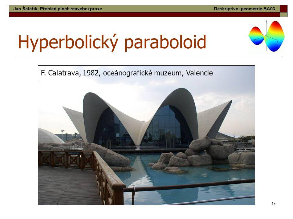 17 Hyperbolický paraboloid F. Calatrava, 1982, oceánografické muzeum, Valencie Jan Šafařík: Přehled ploch stavební praxeDeskriptivní geometrie BA03