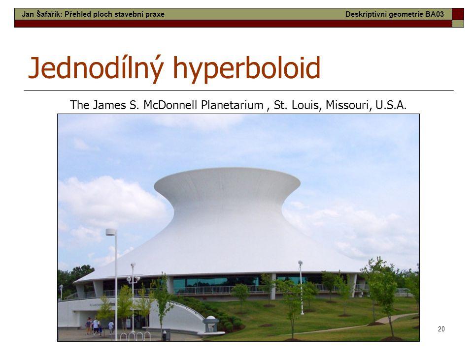 20 Jednodílný hyperboloid The James S. McDonnell Planetarium, St. Louis, Missouri, U.S.A. Jan Šafařík: Přehled ploch stavební praxeDeskriptivní geomet