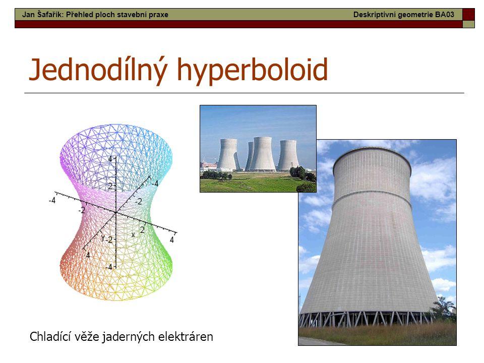 21 Jednodílný hyperboloid Chladící věže jaderných elektráren Jan Šafařík: Přehled ploch stavební praxeDeskriptivní geometrie BA03