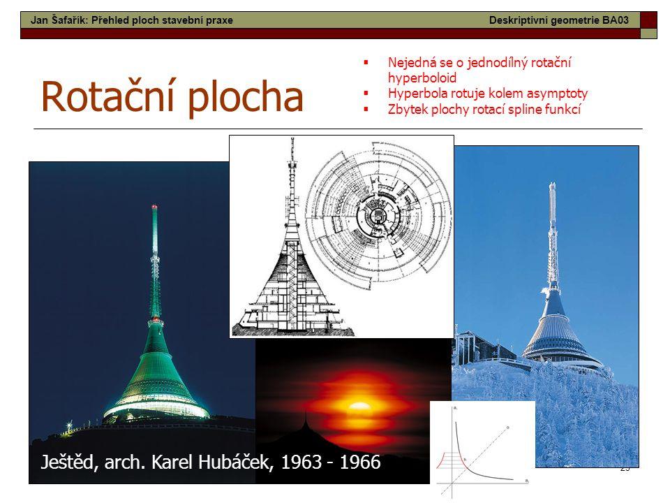 23 Rotační plocha Ještěd, arch. Karel Hubáček, 1963 - 1966  Nejedná se o jednodílný rotační hyperboloid  Hyperbola rotuje kolem asymptoty  Zbytek p