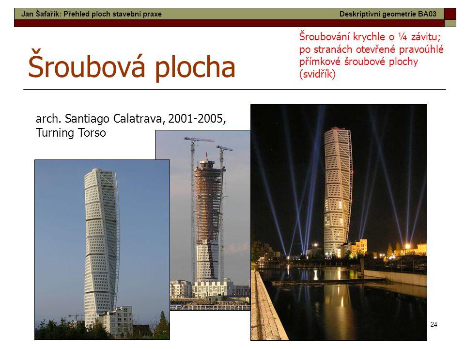 24 Šroubová plocha arch. Santiago Calatrava, 2001-2005, Turning Torso Šroubování krychle o ¼ závitu; po stranách otevřené pravoúhlé přímkové šroubové
