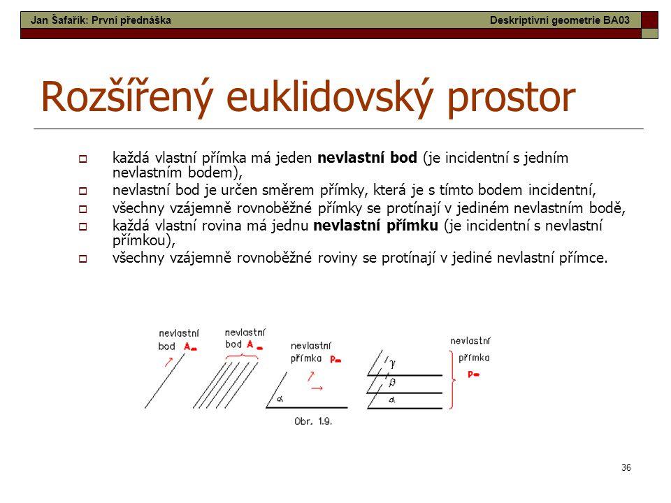 36 Rozšířený euklidovský prostor  každá vlastní přímka má jeden nevlastní bod (je incidentní s jedním nevlastním bodem),  nevlastní bod je určen smě