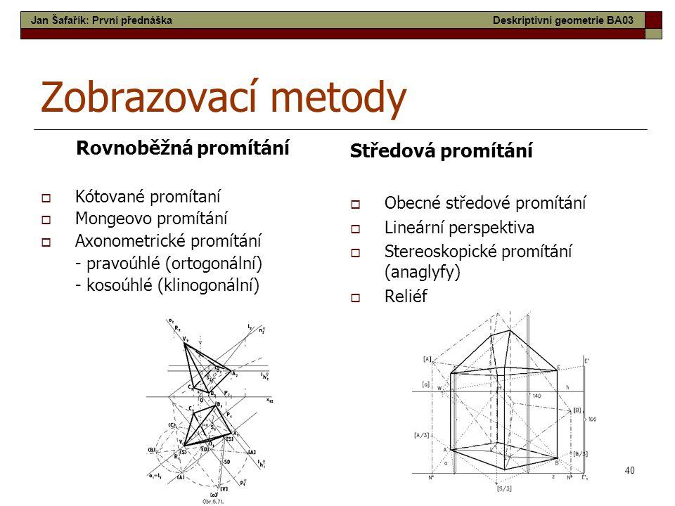 40 Zobrazovací metody Rovnoběžná promítání  Kótované promítaní  Mongeovo promítání  Axonometrické promítání - pravoúhlé (ortogonální) - kosoúhlé (klinogonální) Středová promítání  Obecné středové promítání  Lineární perspektiva  Stereoskopické promítání (anaglyfy)  Reliéf Jan Šafařík: První přednáškaDeskriptivní geometrie BA03