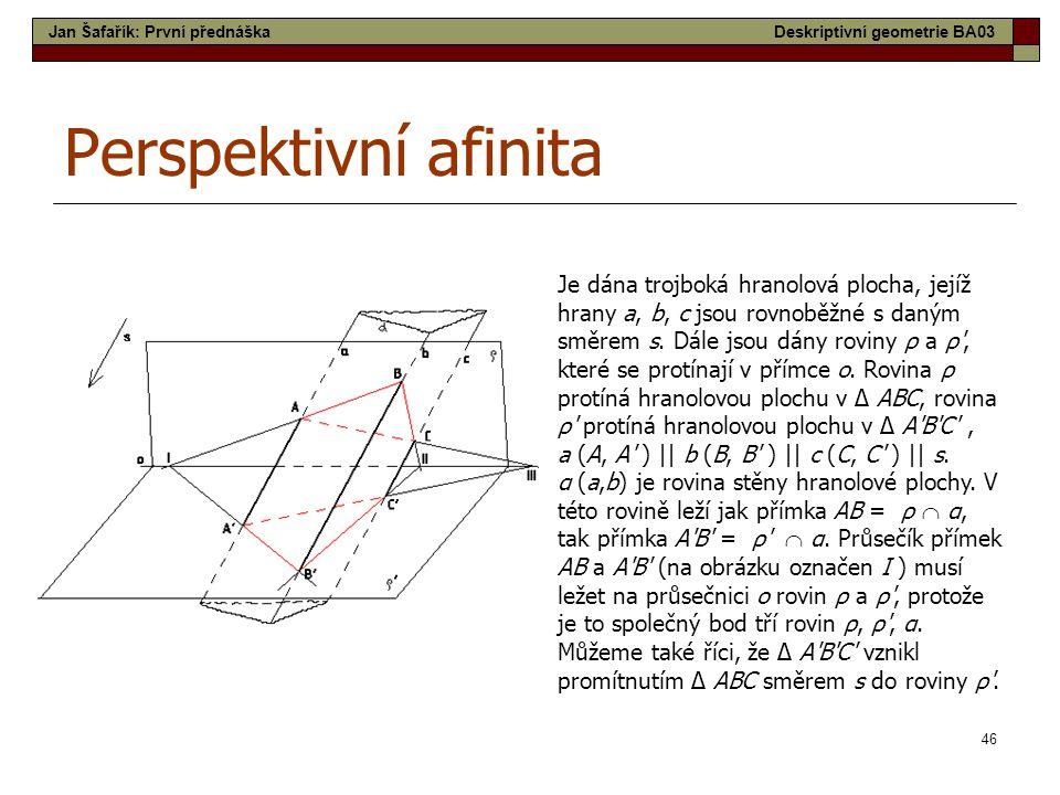 46 Perspektivní afinita Je dána trojboká hranolová plocha, jejíž hrany a, b, c jsou rovnoběžné s daným směrem s. Dále jsou dány roviny ρ a ρ', které s