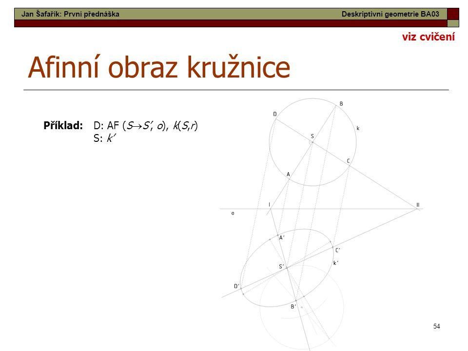 54 Afinní obraz kružnice Příklad: D: AF (S  S', o), k(S,r) S: k' Jan Šafařík: První přednáškaDeskriptivní geometrie BA03 viz cvičení