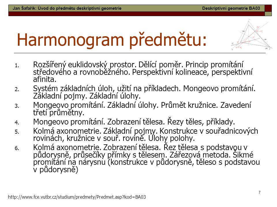 7 Harmonogram předmětu: 1. Rozšířený euklidovský prostor. Dělící poměr. Princip promítání středového a rovnoběžného. Perspektivní kolineace, perspekti