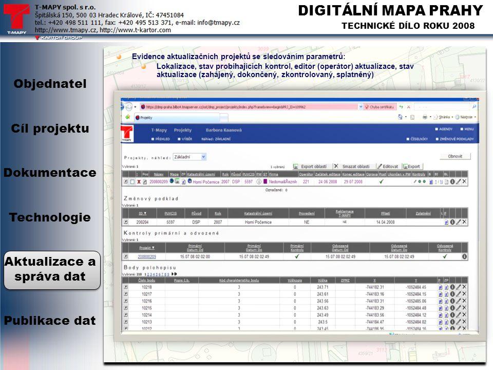 DIGITÁLNÍ MAPA PRAHY TECHNICKÉ DÍLO ROKU 2008 Evidence aktualizačních projektů se sledováním parametrů: Lokalizace, stav probíhajících kontrol, editor
