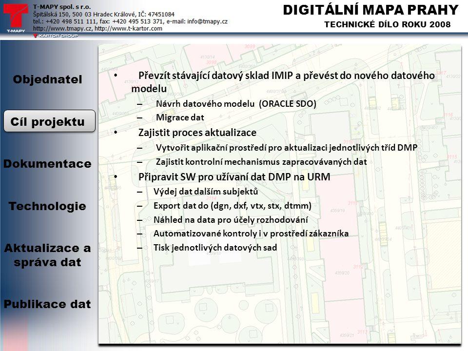 DIGITÁLNÍ MAPA PRAHY TECHNICKÉ DÍLO ROKU 2008 Objednatel Cíl projektu Dokumentace Technologie Aktualizace a správa dat Publikace dat • Převzít stávají