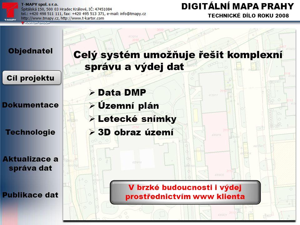 DIGITÁLNÍ MAPA PRAHY TECHNICKÉ DÍLO ROKU 2008 Celý systém umožňuje řešit komplexní správu a výdej dat  Data DMP  Územní plán  Letecké snímky  3D o