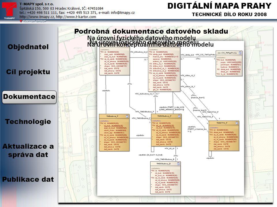 DIGITÁLNÍ MAPA PRAHY TECHNICKÉ DÍLO ROKU 2008 Podrobná dokumentace datového skladu Objednatel Cíl projektu Dokumentace Technologie Aktualizace a správ