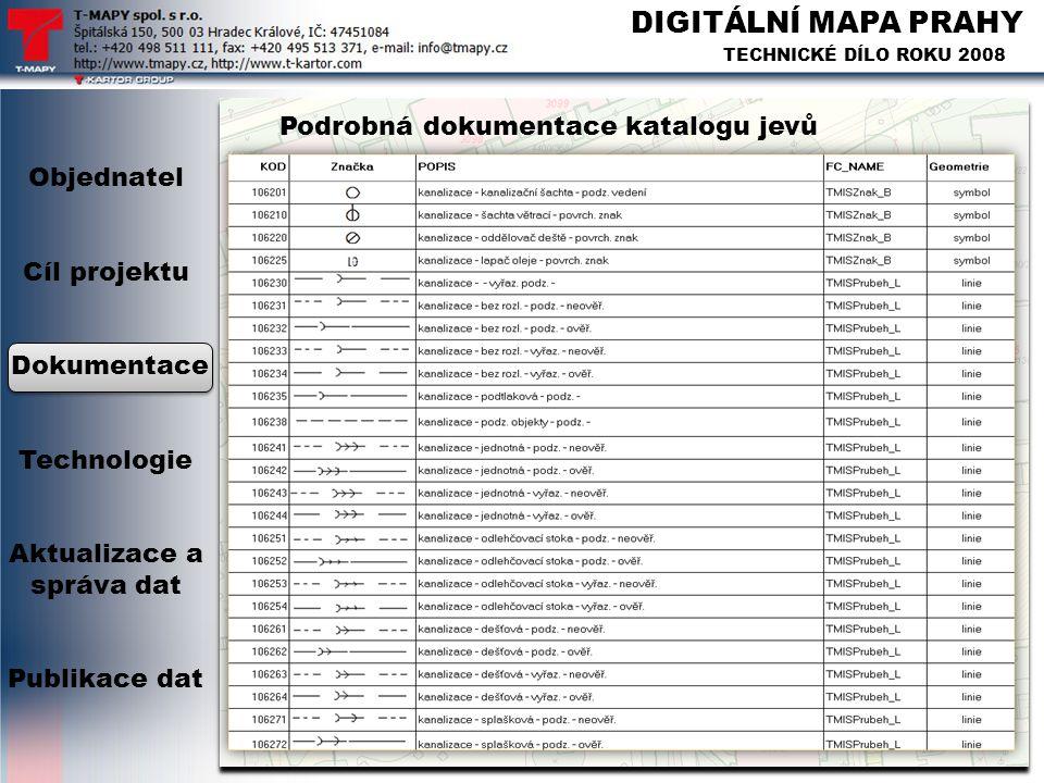 DIGITÁLNÍ MAPA PRAHY TECHNICKÉ DÍLO ROKU 2008 Podrobná dokumentace katalogu jevů Objednatel Cíl projektu Dokumentace Technologie Aktualizace a správa