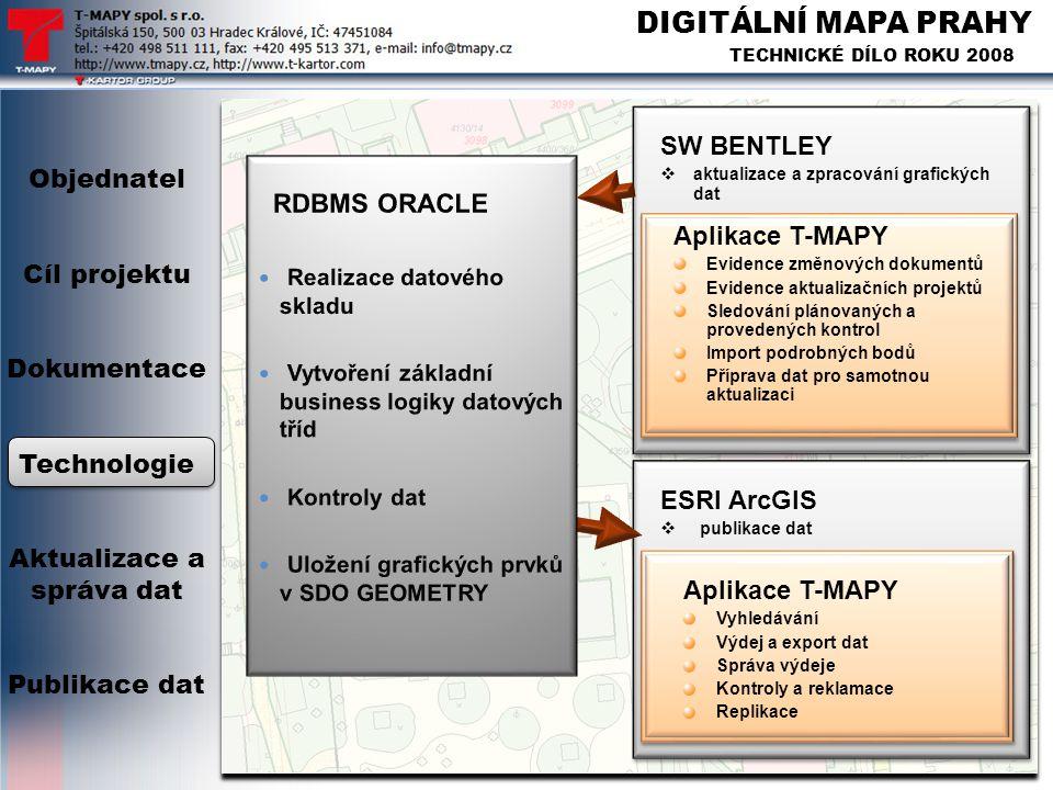 DIGITÁLNÍ MAPA PRAHY TECHNICKÉ DÍLO ROKU 2008 ESRI ArcGIS  publikace dat ESRI ArcGIS  publikace dat SW BENTLEY  aktualizace a zpracování grafických